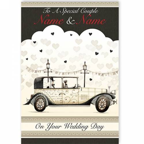 To A Special Couple Old Wedding Car Card