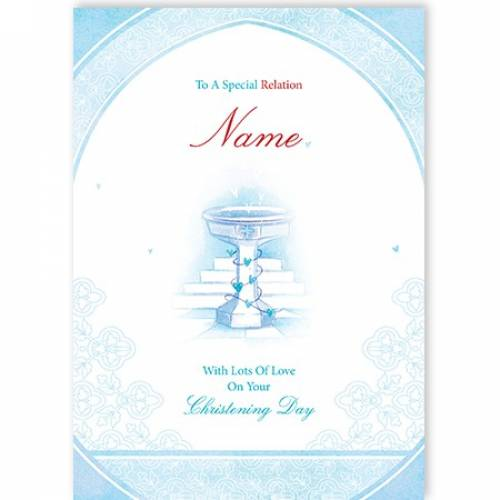 Special Any Relation Blue On Your Christening Card