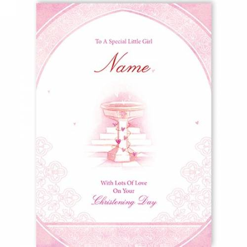 Special Little Boy Pink On Your Christening Day Card