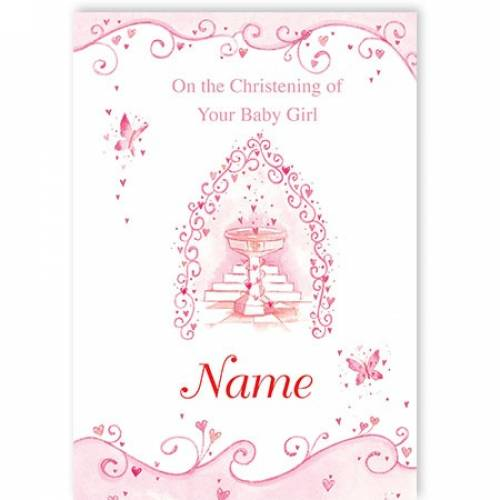 Special Little Boy Pink Butterflies On Your Christening Day Card