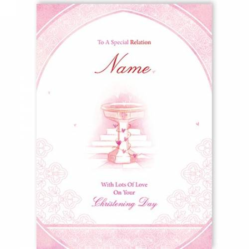 Special Any Relation Pink On Your Christening Card