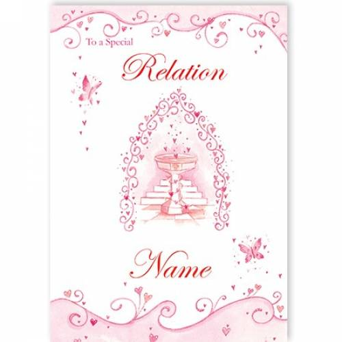Special Any Relation Pink Butterflies On Your Christening Card