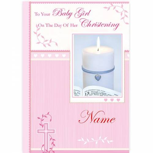 Baby Girl Christening Pink Candle Card