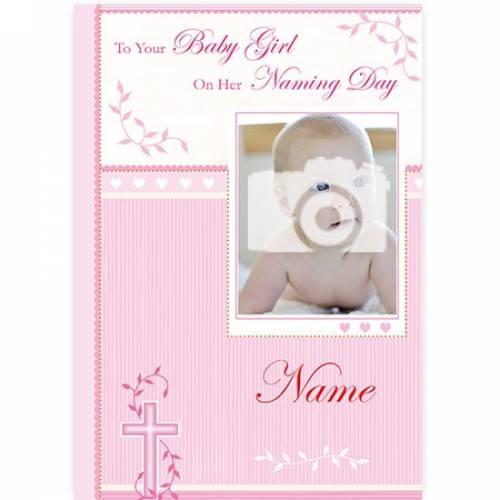 Baby Girl Naming Day Pink Photo Card