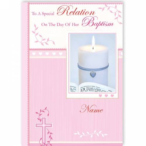 Any Relation Pink Baptism Card