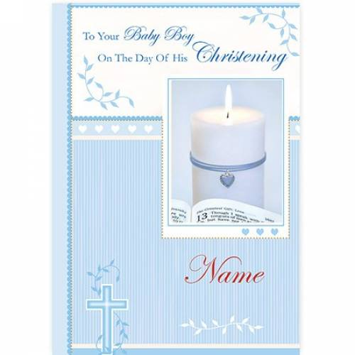 Baby Boy Christening Blue Candle Card