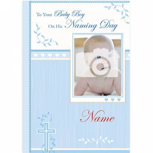 Baby Boy Naming Day Blue Photo Card