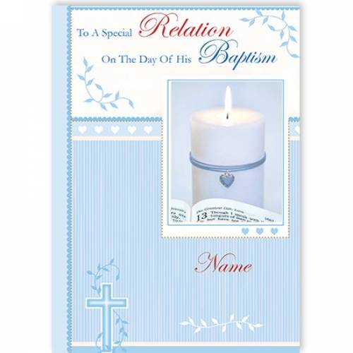 Any Relation Blue Baptism Card