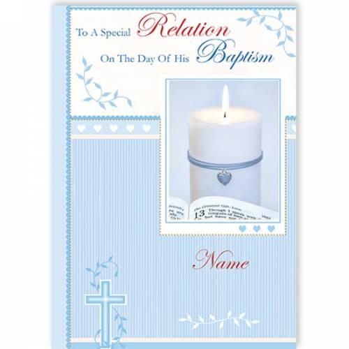 Any Relation Blue Baptism Card