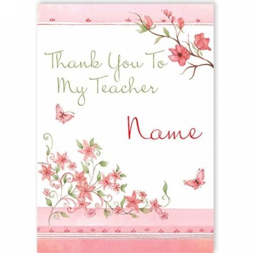 Thank You Teacher Flowers Card