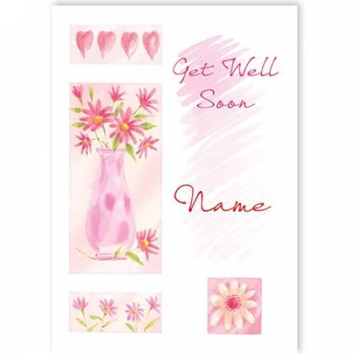 Get Well Soon Vase Of Flowers Card