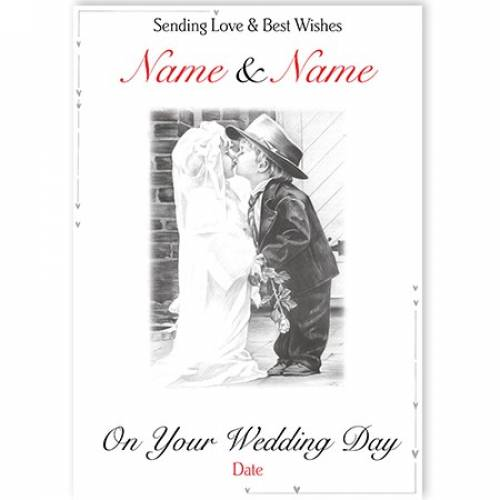 Wedding Day Bride And Groom Card