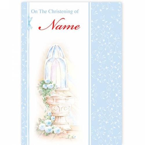 Christening Water Font Blue Card