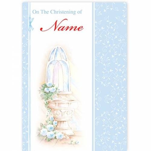Christening Water Font Blue Card