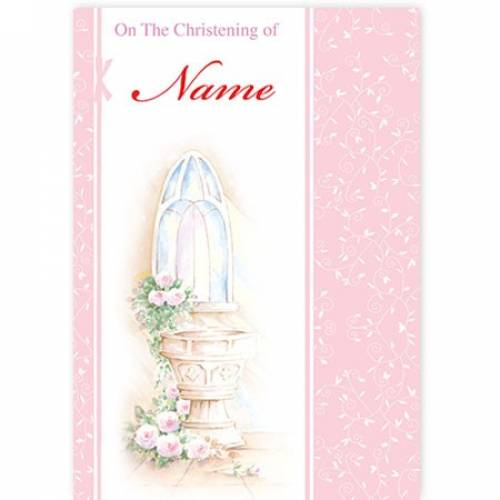 Christening Water Font Pink Card