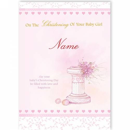 Christening Baby Girl Water Font Card