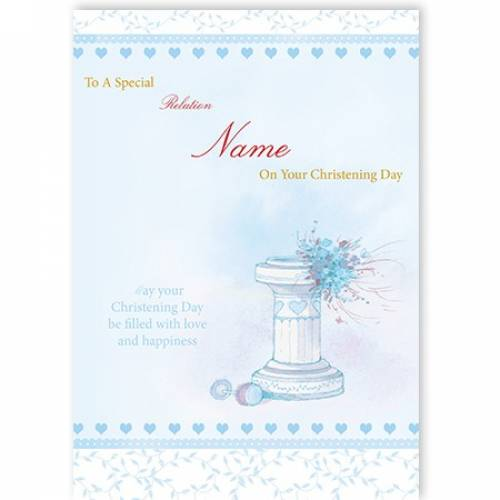 On Your Christening Baby Boy Water Font Card