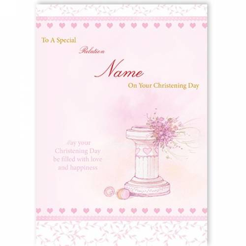 On Your Christening Baby Girl Water Font Card