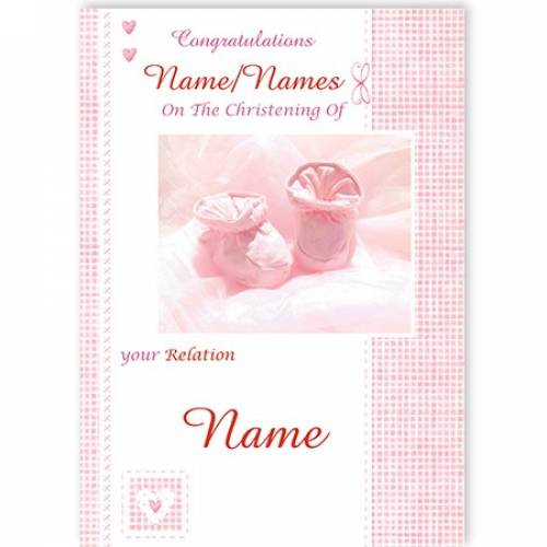 Congratulations Christening Relation Pink Card