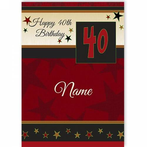 Happy 40th Star Birthday Card