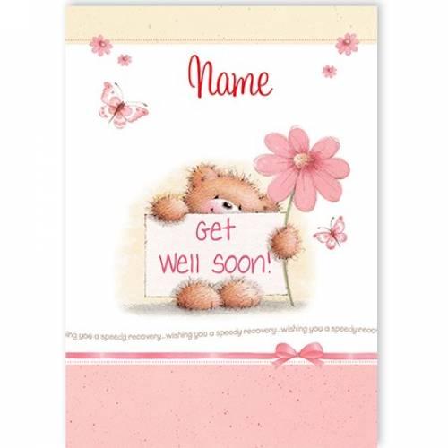 Get Well Soon Teddy Flower Card