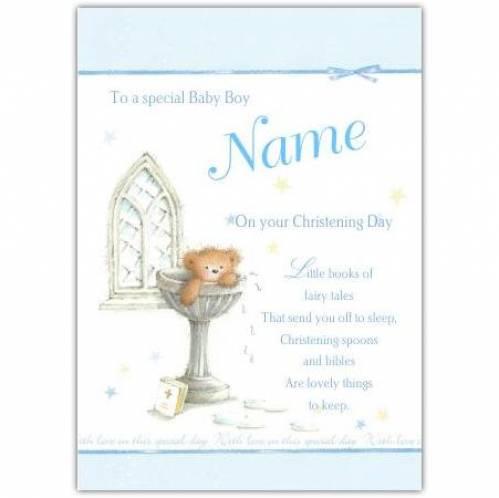Christening Baby Boy Teddy Water Font Card