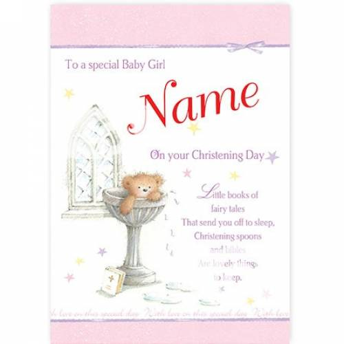 Christening Baby Girl Teddy Water Font Card