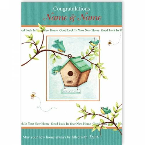 New Home Couple Bird House Card