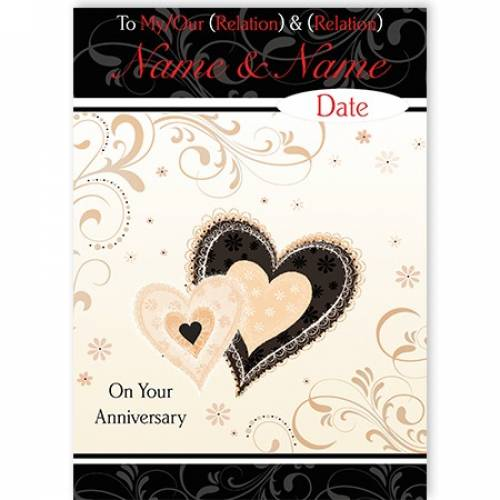 Anniversary Personalised Heart Card