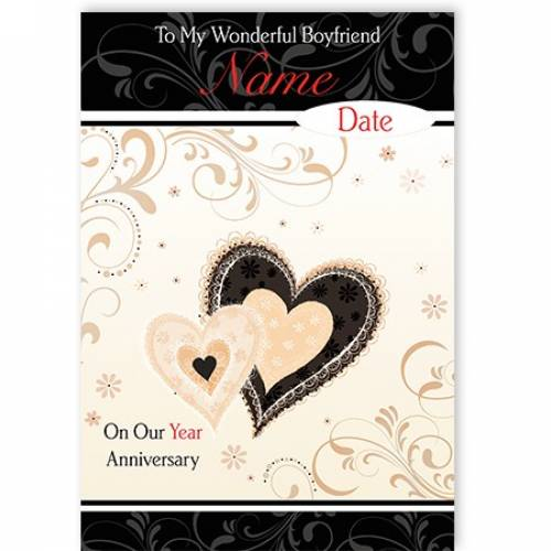 Boyfriend Anniversary Heart Card