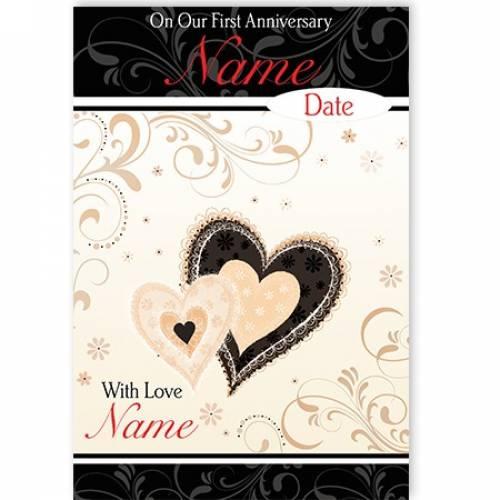 First Anniversary Heart Card