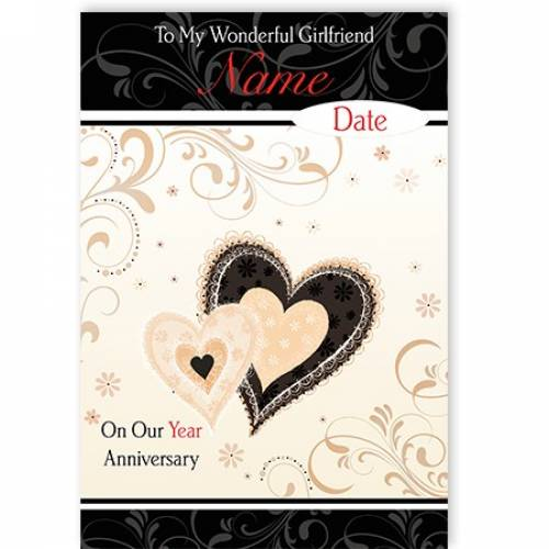 Girlfriend Anniversary Heart Card