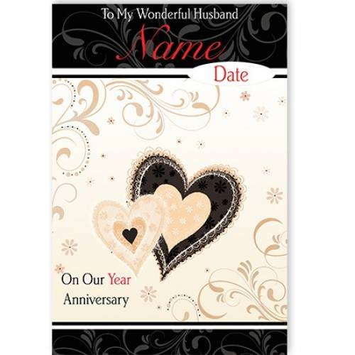 Wonderful Husband Anniversary Heart Card