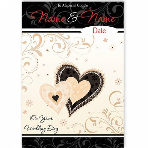 Special Couple Heart Wedding Day Card