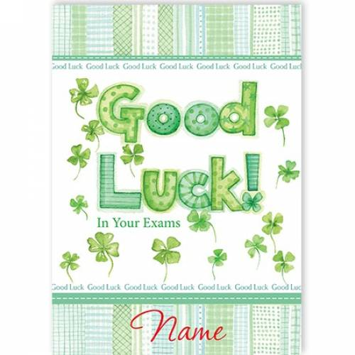 Good Luck Exam Clover Card