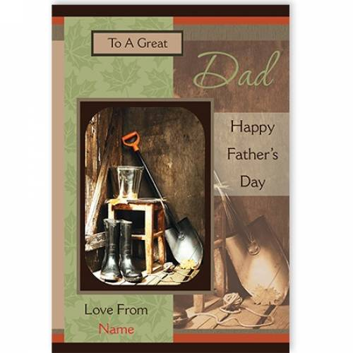 Happy Father's Day Dad Wellies And Shovel  Card