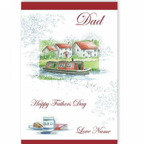 Happy Father's Day Dad House Boat Card