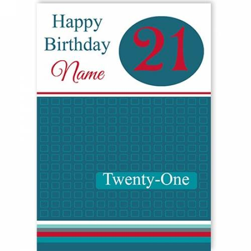 Generic Happy 21st Birthday Card