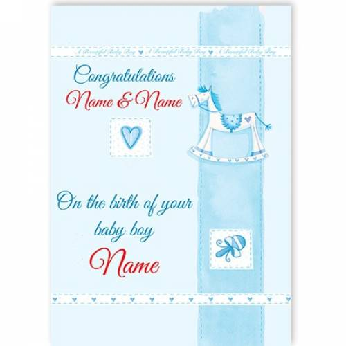 Congratulations Baby Boy Rocking Horse Card