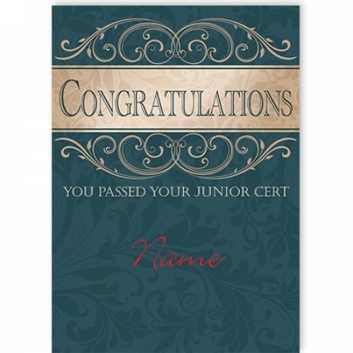 Congratulations Junior Cert Passed Card