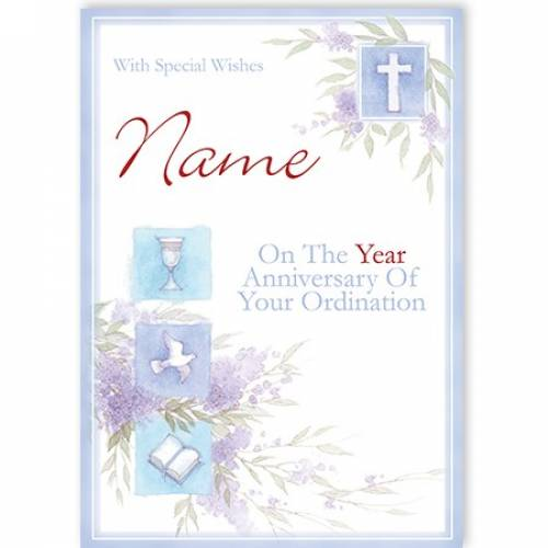 Chalice Dove Book Ordination Anniversary Card Card