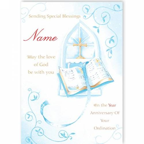 Book And Cross Congratulation On Your Ordination Card