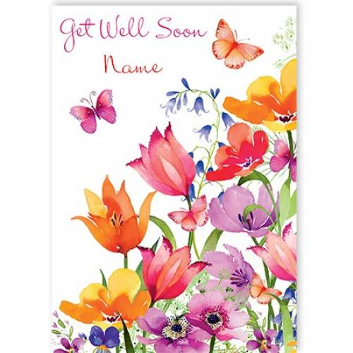 Get Well Soon Flowers And Butterflys Card