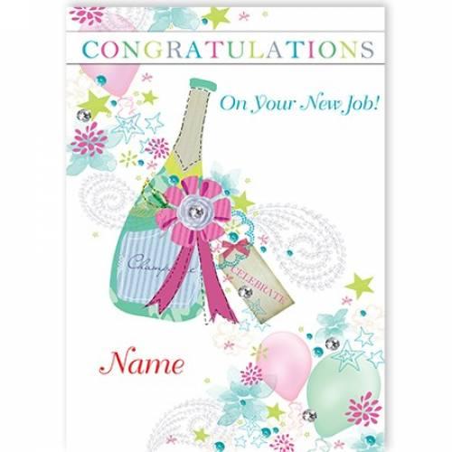 Champagne Bottle New Job Card