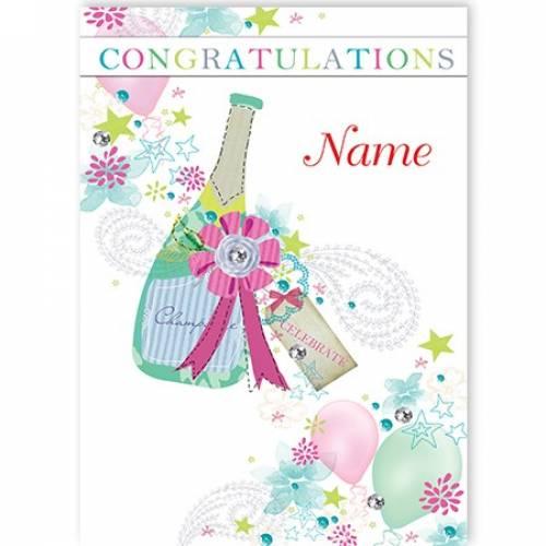 Champagne Bottle Congratulations Card