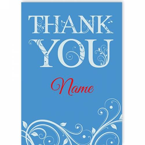 Any Name Blue Thank You Card Card