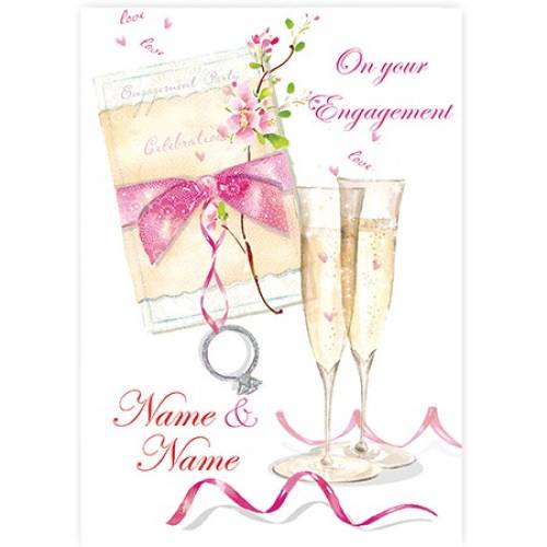 Champagne Flutes Engagement Card
