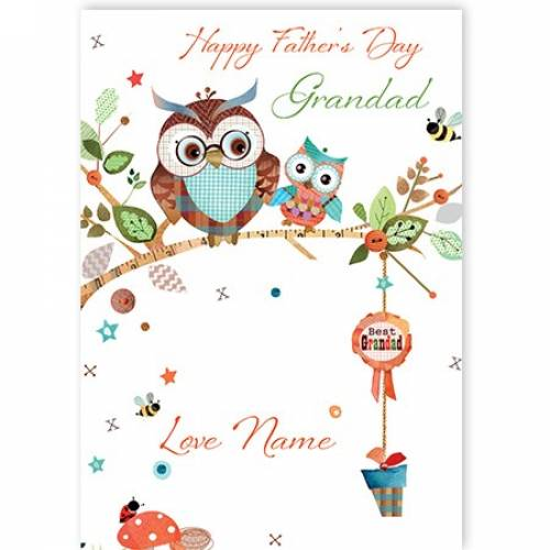 Happy Father's Day Grandad Wise Old Owl Card