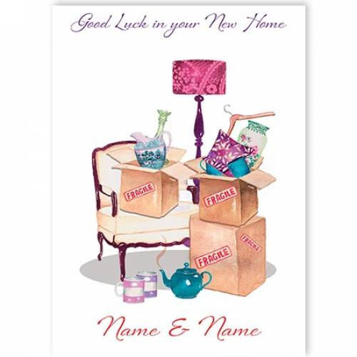 New Home Moving Boxes Card