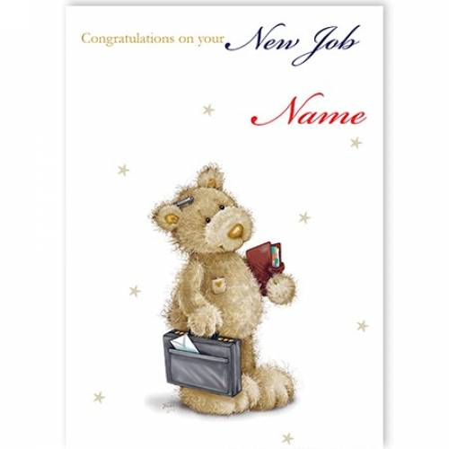 New Job Teddy With Briefcase Card